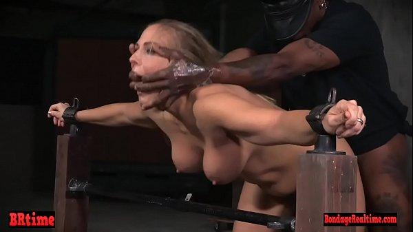 Restrained bondage babe spit roasted